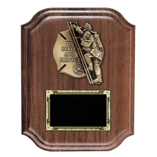 Scalloped Serve and Protect Firefighter Plaque