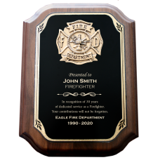 Scalloped Plate Firefighter Plaque