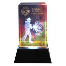 3 Dimensional Firefighter Crystal Award
