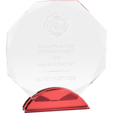 Crystal Glass Octagon Firefighter Award