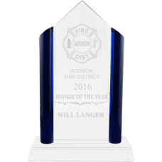 Crystal Glass Pyramid Firefighter Award