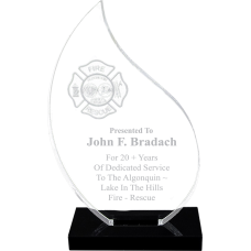 Flame Acrylic Firefighter Award
