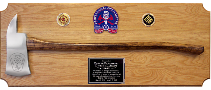 Aluminum Firefighter Axe Plaque