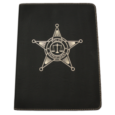 Police Zippered Leatherette Padfolio
