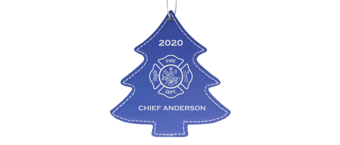 Firefighter Leatherette Tree Ornament