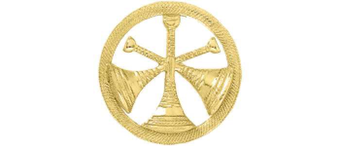 3 Bugle Circle Cutout Texture Hat Badge