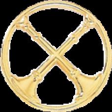 2 Crossed Bugle Circle Cutout Hat Badge