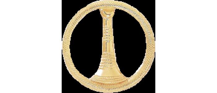 1 Bugle Circle Cutout Texture Hat Badge