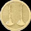 2 Standing Bugle Circle Hat Badge