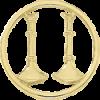 2 Standing Bugle Circle Cutout Hat Badge