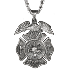 Firefighter Necklace with Eagle