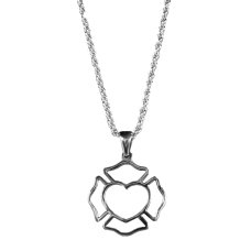 Maltese Cross Outline With Heart Necklace