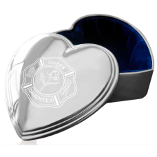 Firefighter Silver Heart Jewelry Box