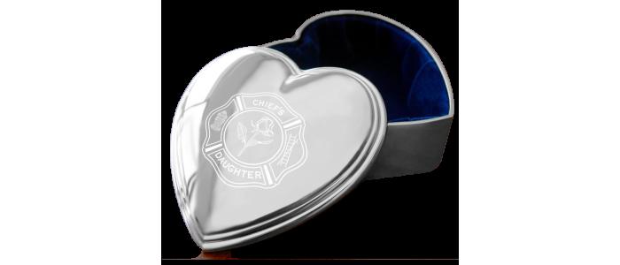 Firefighter Silver Heart Jewelry Box