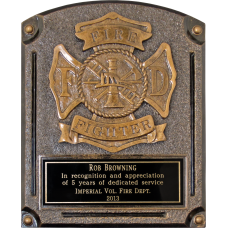Bronze Firefighter Plaque Award