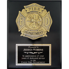 Black Gloss Fire Department Plaque