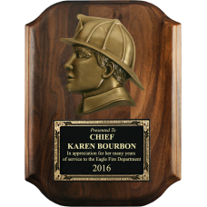 Scalloped Firefighter Head Plaque
