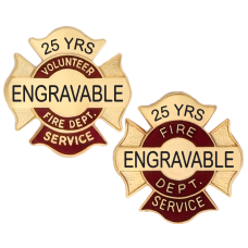 Engravable Fire Department Service Pins