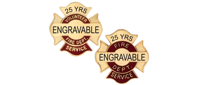 Engraveable Fire Department Service Pins