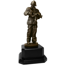 Firefighter Holding Child Statue