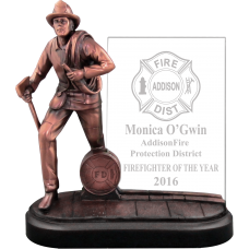 Glass & Bronze-Tone  Firefighter Award