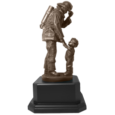 Firefighter Statue with Child