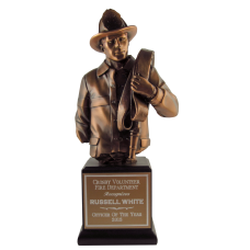 Copper Finish Resin Firefighter Bust Award