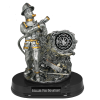 Silver Firefighter Statue with Gold Trim
