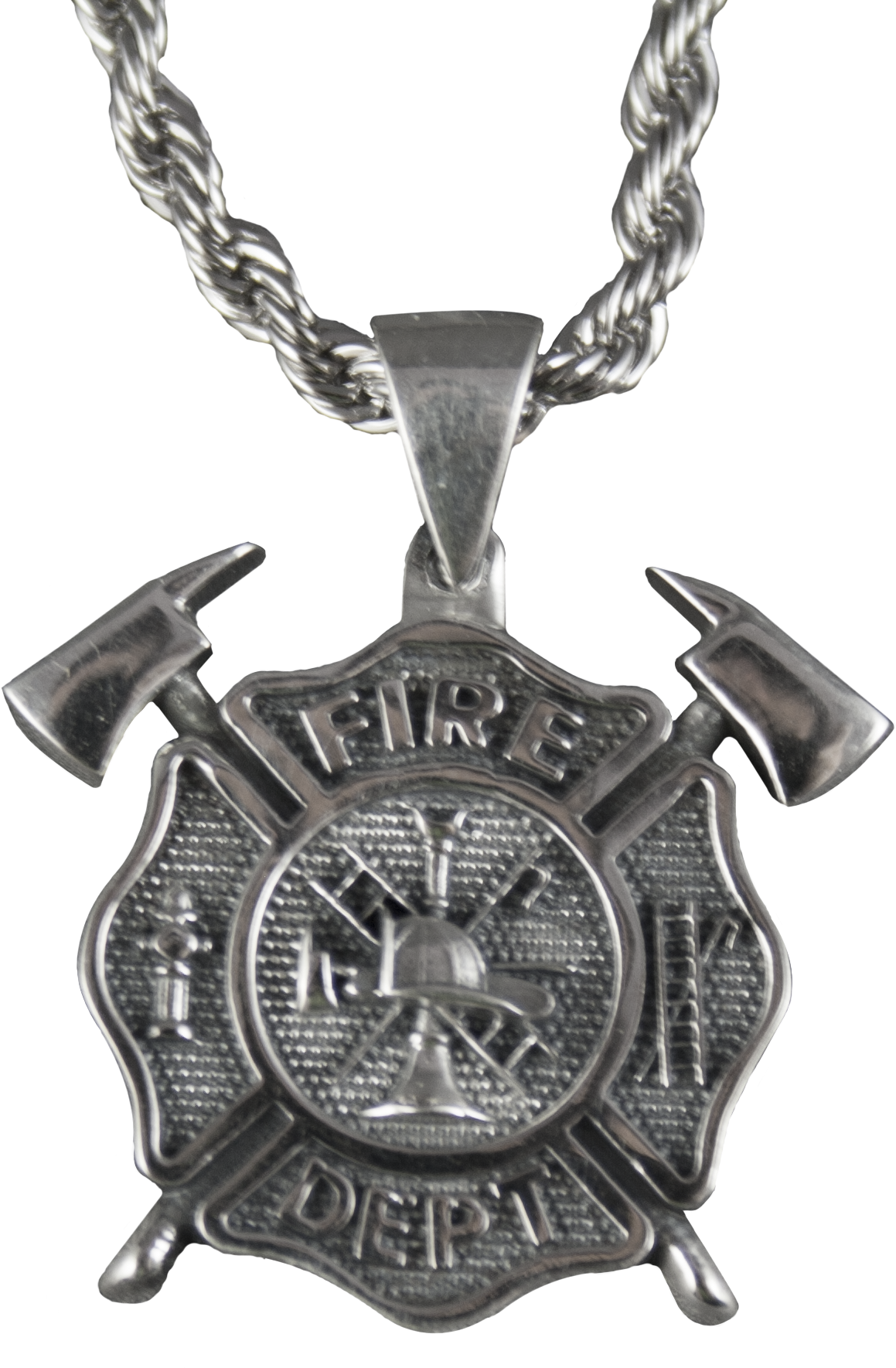 silver solid badge cross maltese sterling department firefighter necklace fire pendant