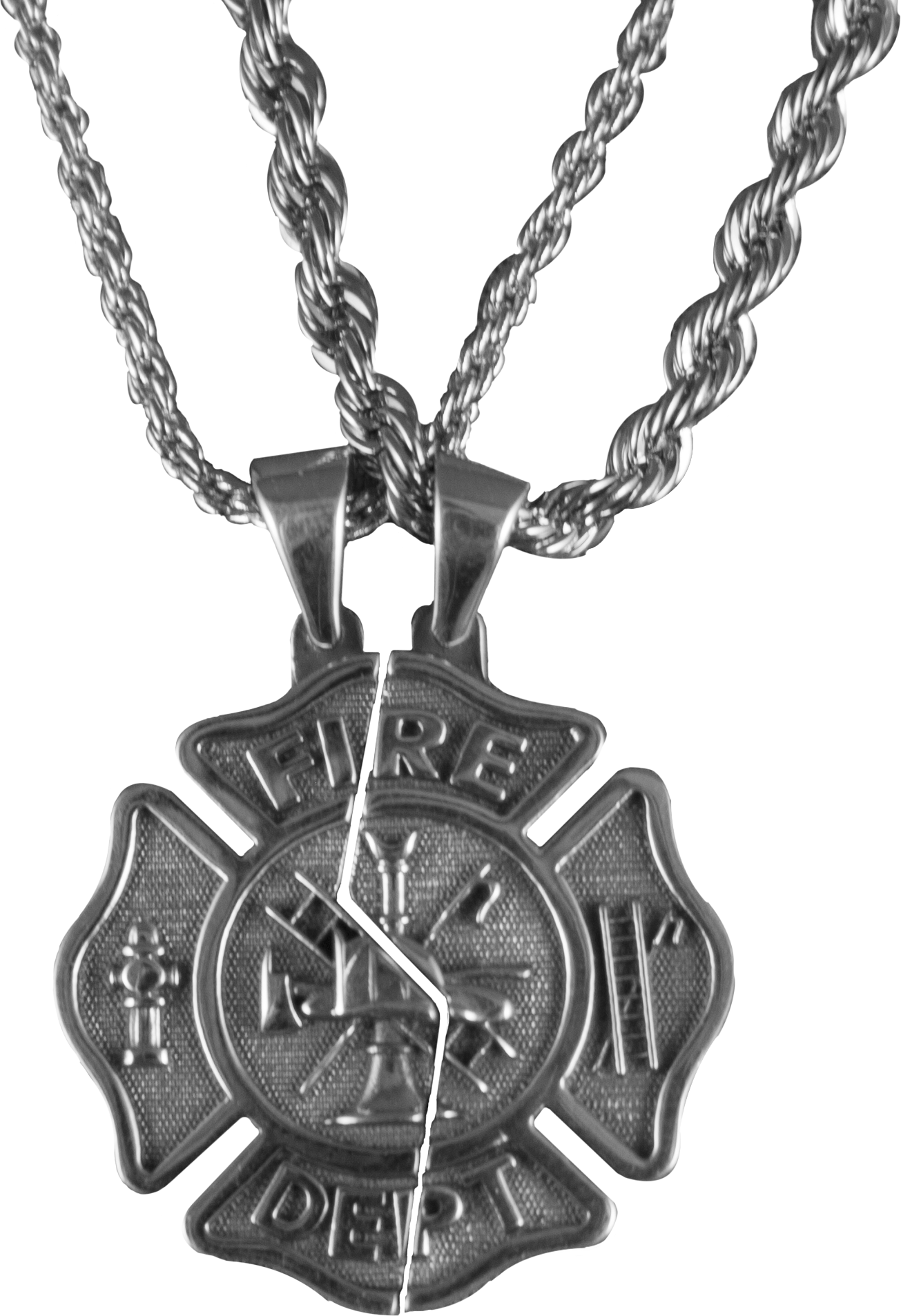 cross maltese pendant his necklaces pin hers firefighter