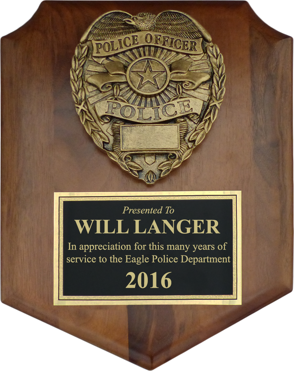 small shield police plaque